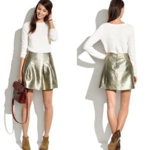 Madewell Gold Shimmer Pleated Skirt Size 2